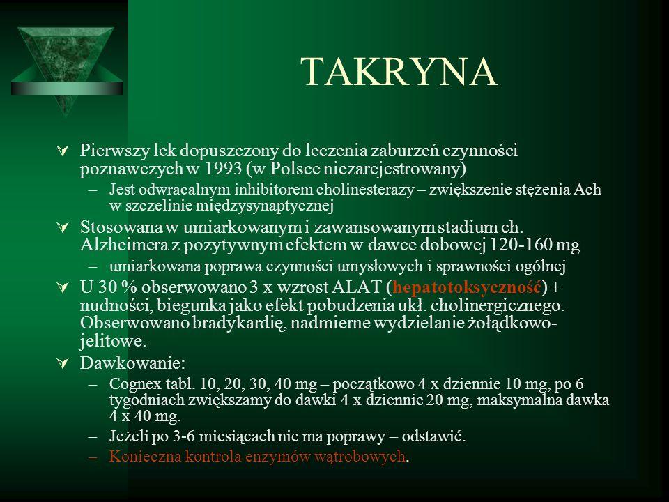 TAKRYNA Pierwszy lek dopuszczony do leczenia zaburzeń czynności poznawczych w 1993 (w Polsce niezarejestrowany)