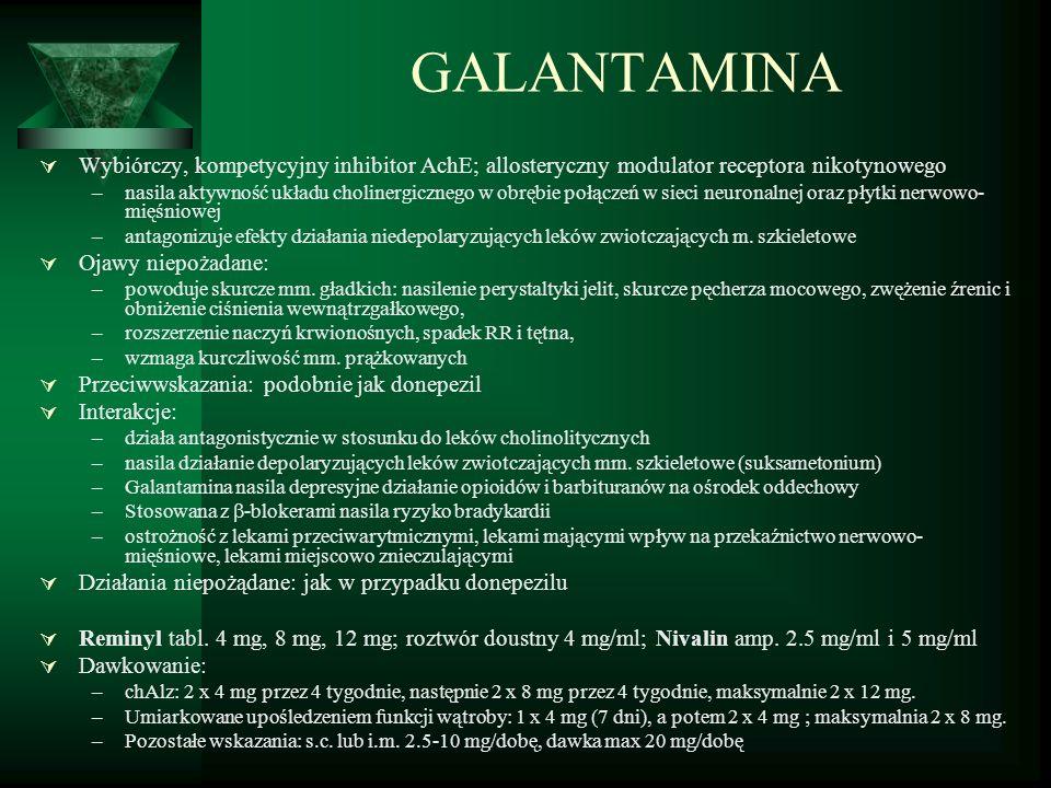 GALANTAMINA Wybiórczy, kompetycyjny inhibitor AchE; allosteryczny modulator receptora nikotynowego.