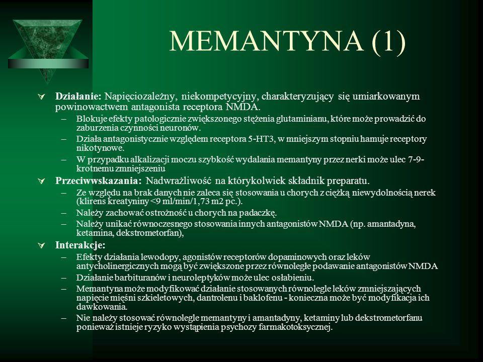 MEMANTYNA (1) Działanie: Napięciozależny, niekompetycyjny, charakteryzujący się umiarkowanym powinowactwem antagonista receptora NMDA.
