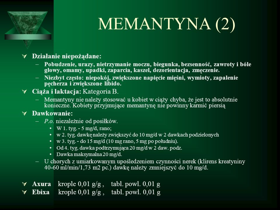 MEMANTYNA (2) Działanie niepożądane: Ciąża i laktacja: Kategoria B.