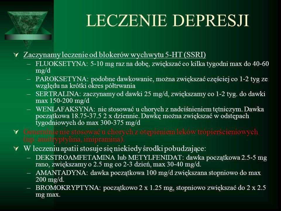 LECZENIE DEPRESJI Zaczynamy leczenie od blokerów wychwytu 5-HT (SSRI)