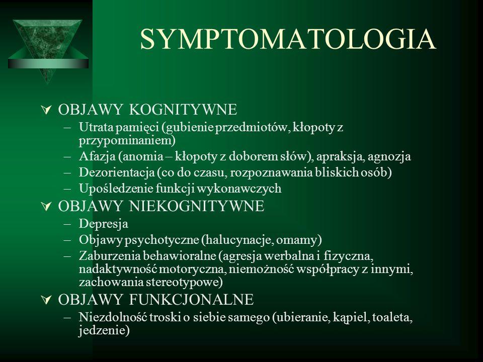 SYMPTOMATOLOGIA OBJAWY KOGNITYWNE OBJAWY NIEKOGNITYWNE
