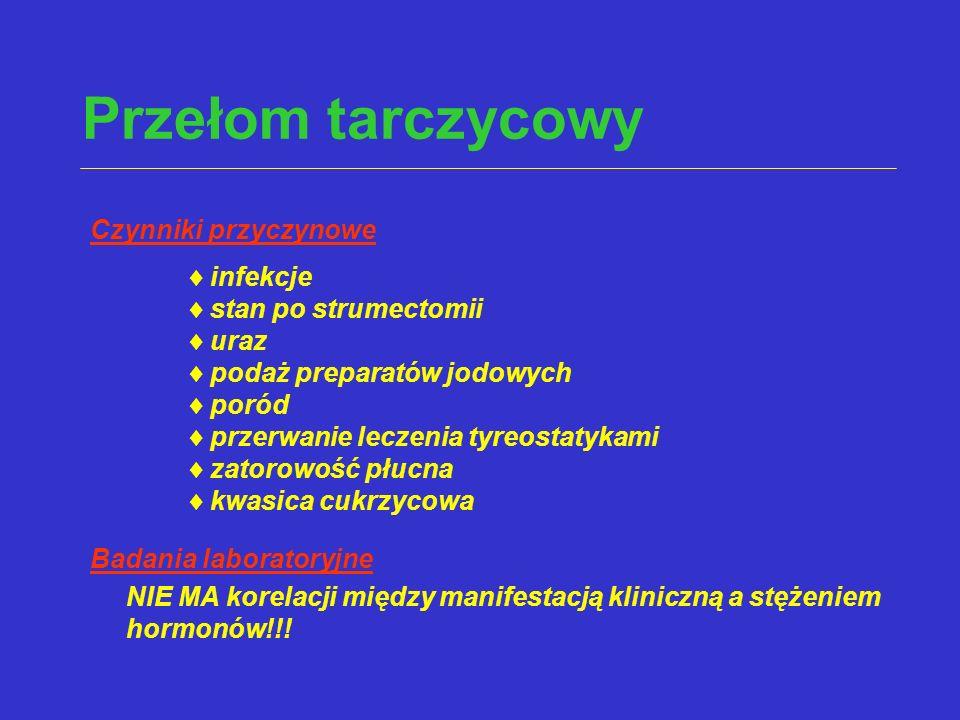 Przełom tarczycowy Czynniki przyczynowe infekcje stan po strumectomii