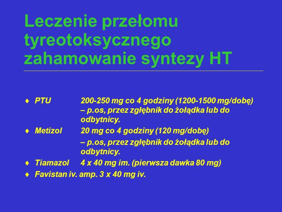 Leczenie przełomu tyreotoksycznego zahamowanie syntezy HT