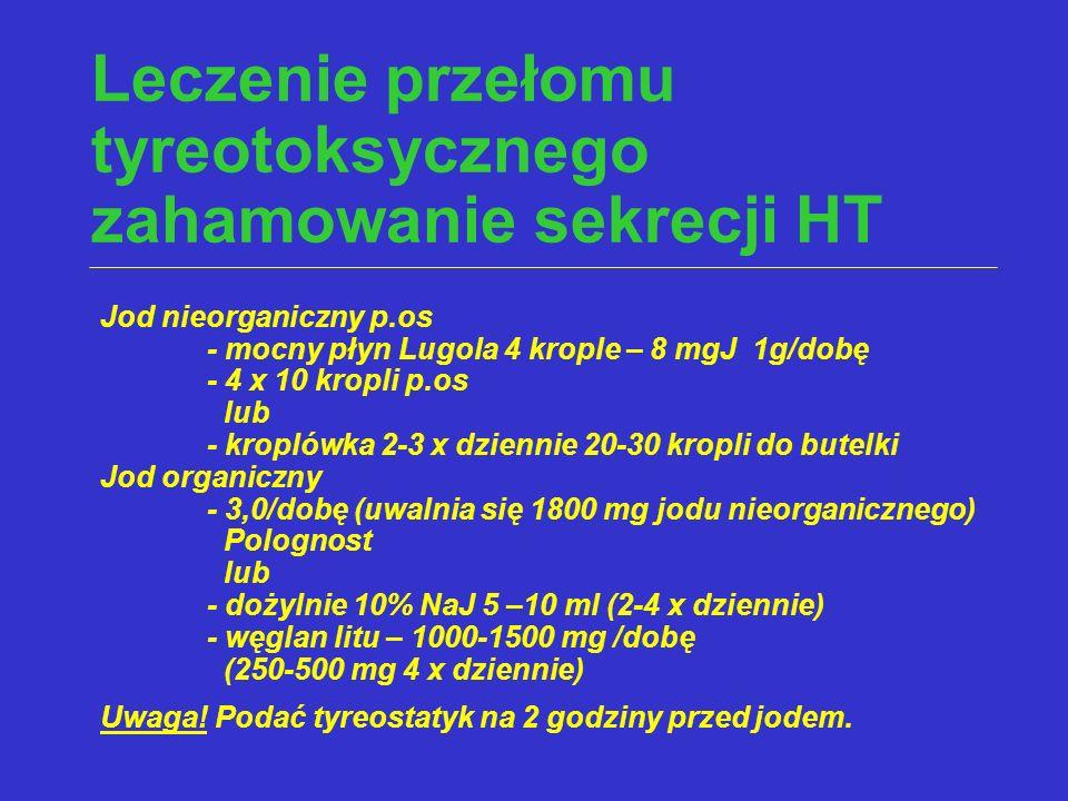 Leczenie przełomu tyreotoksycznego zahamowanie sekrecji HT