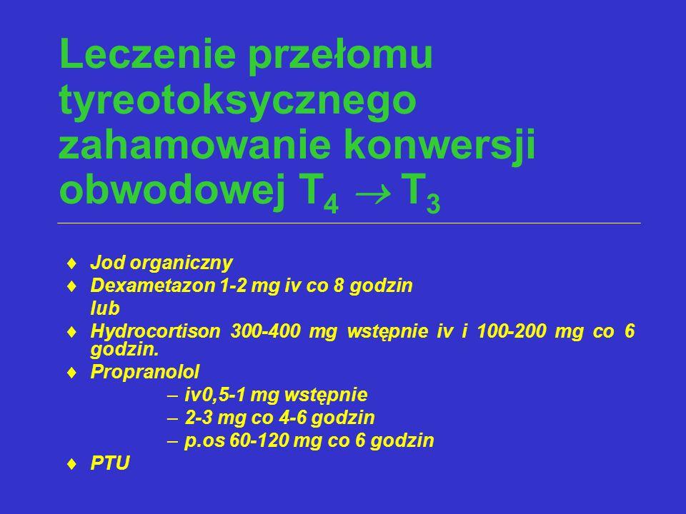 Leczenie przełomu tyreotoksycznego zahamowanie konwersji obwodowej T4  T3