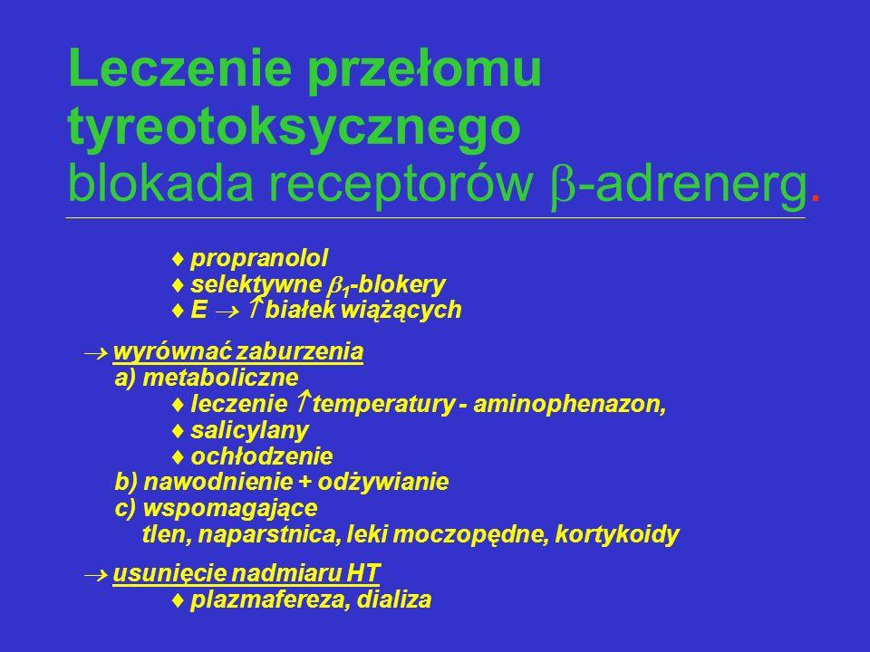Leczenie przełomu tyreotoksycznego blokada receptorów -adrenerg.