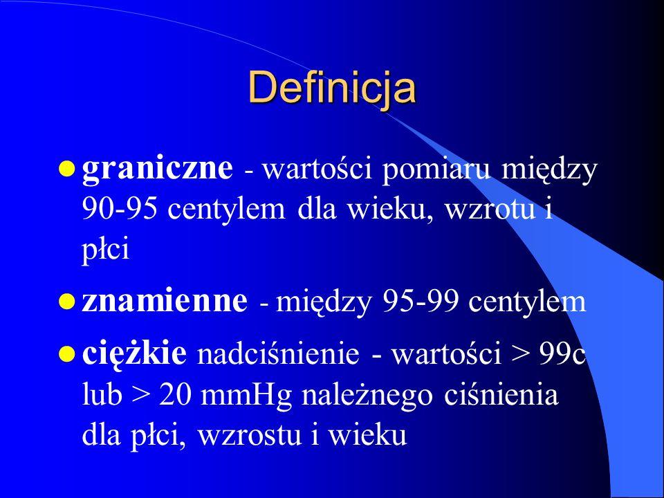 Definicja graniczne - wartości pomiaru między 90-95 centylem dla wieku, wzrotu i płci. znamienne - między 95-99 centylem.