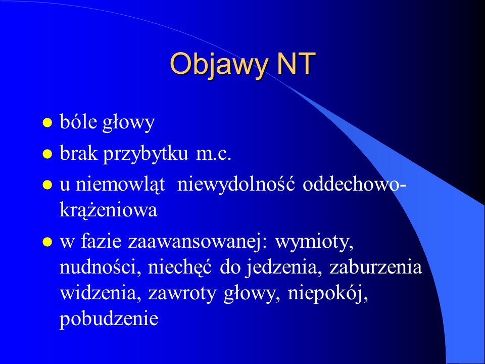 Objawy NT bóle głowy brak przybytku m.c.
