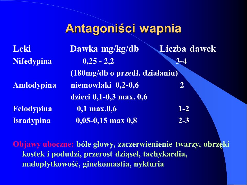 Antagoniści wapnia Leki Dawka mg/kg/db Liczba dawek