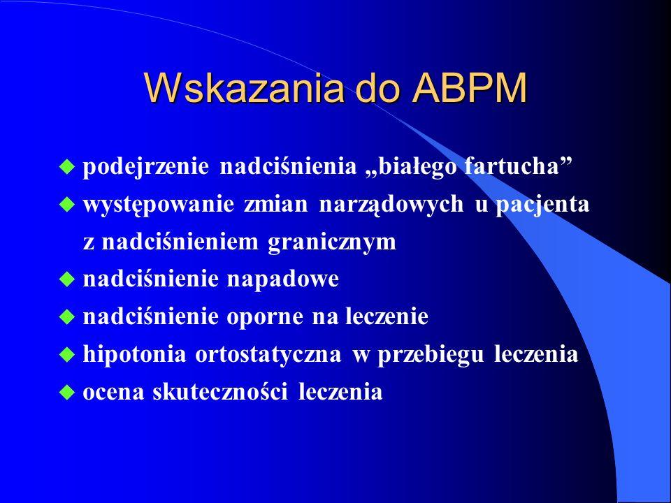 """Wskazania do ABPM podejrzenie nadciśnienia """"białego fartucha"""