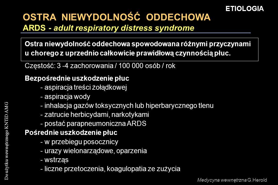 ETIOLOGIA OSTRA NIEWYDOLNOŚĆ ODDECHOWA ARDS - adult respiratory distress syndrome.