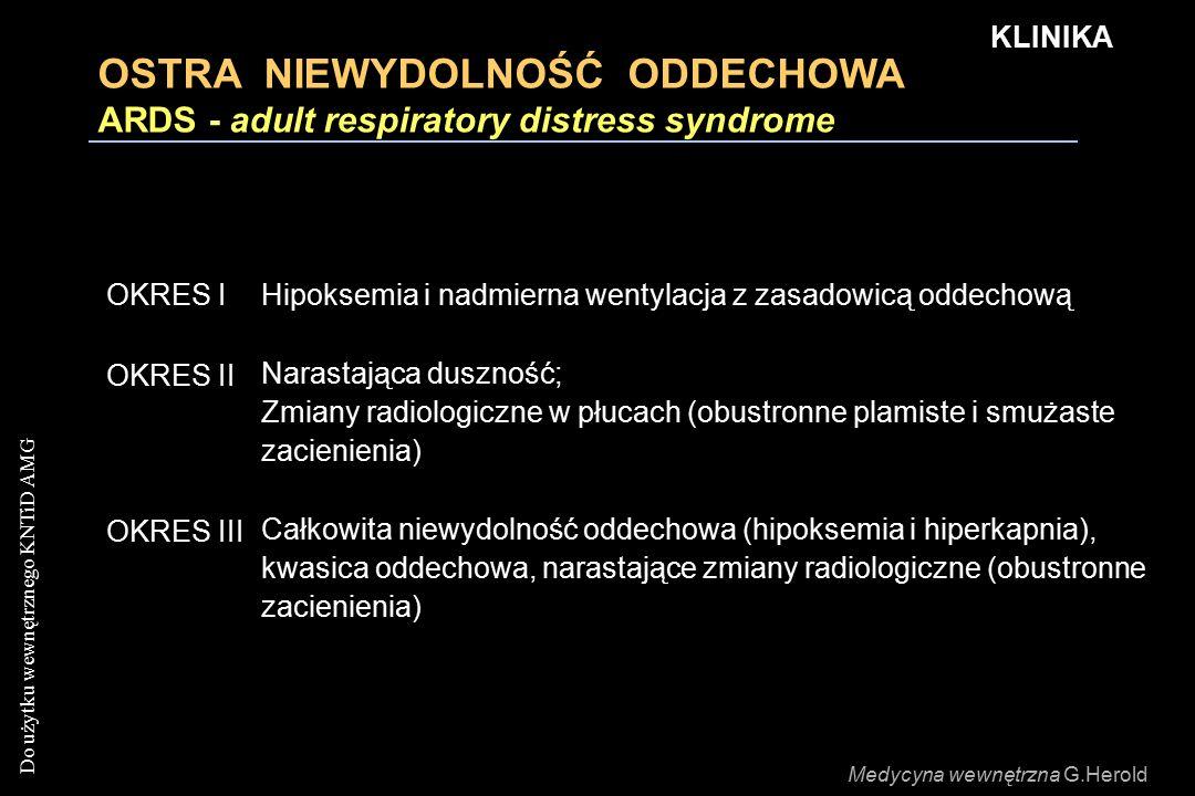 KLINIKA OSTRA NIEWYDOLNOŚĆ ODDECHOWA ARDS - adult respiratory distress syndrome. OKRES I.