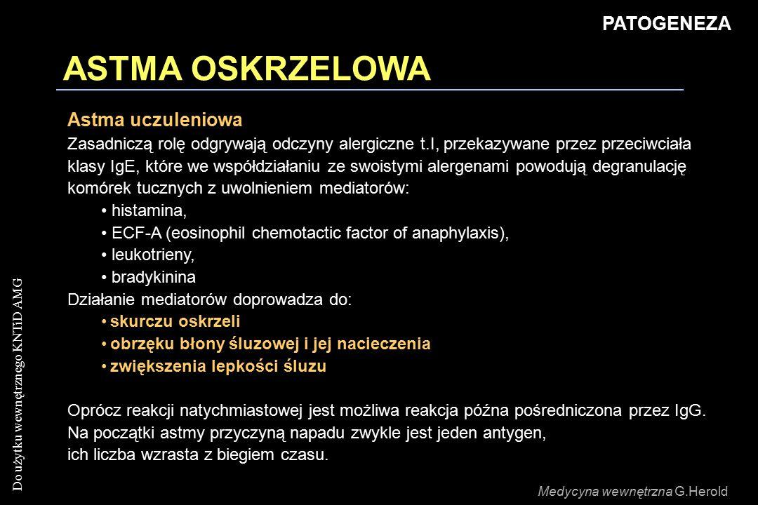 ASTMA OSKRZELOWA PATOGENEZA Astma uczuleniowa