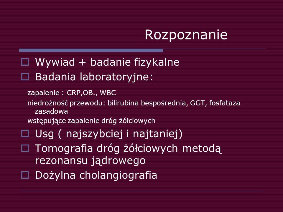Rozpoznanie Wywiad + badanie fizykalne Badania laboratoryjne:
