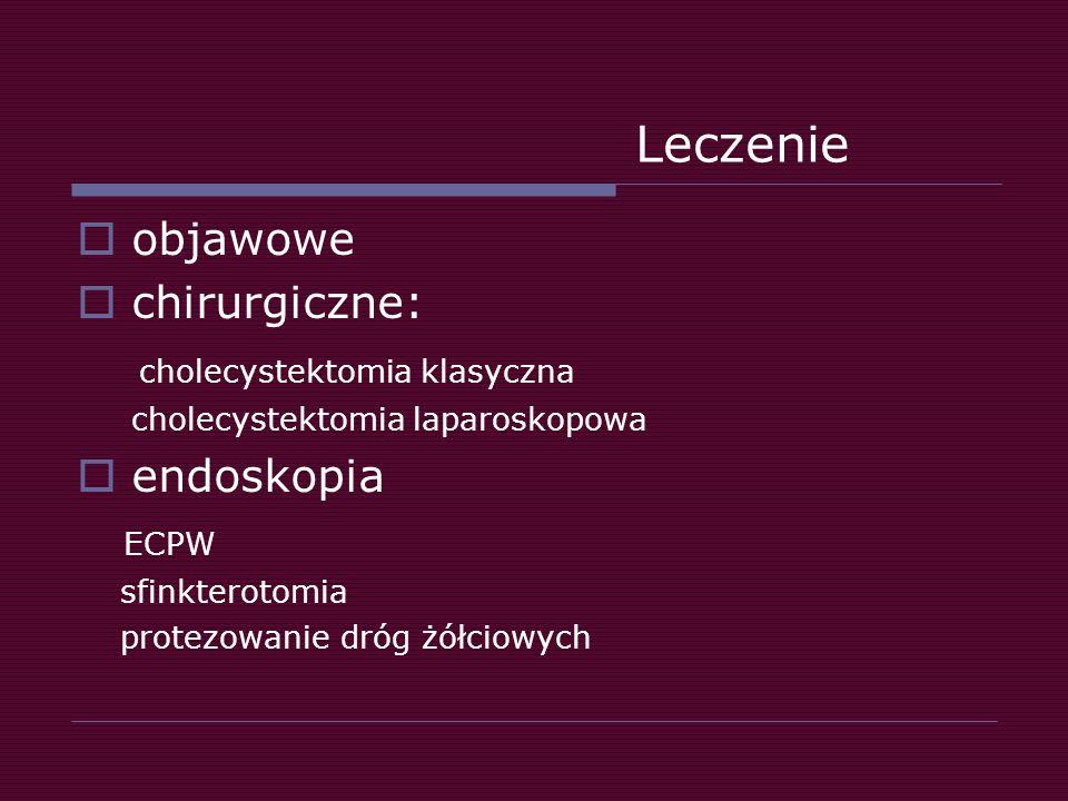 Leczenie objawowe chirurgiczne: cholecystektomia klasyczna endoskopia