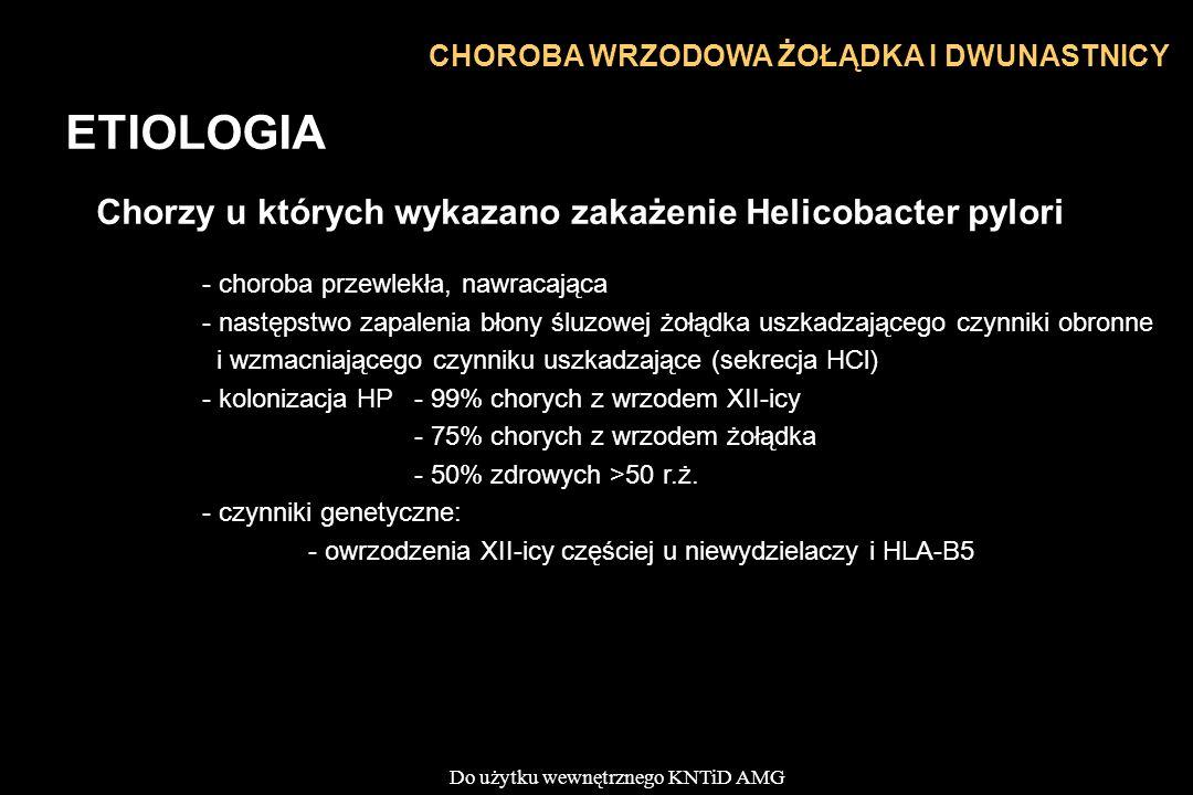 ETIOLOGIA Chorzy u których wykazano zakażenie Helicobacter pylori