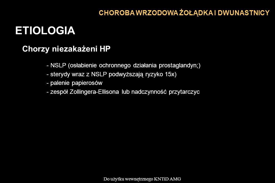 ETIOLOGIA Chorzy niezakażeni HP CHOROBA WRZODOWA ŻOŁĄDKA I DWUNASTNICY
