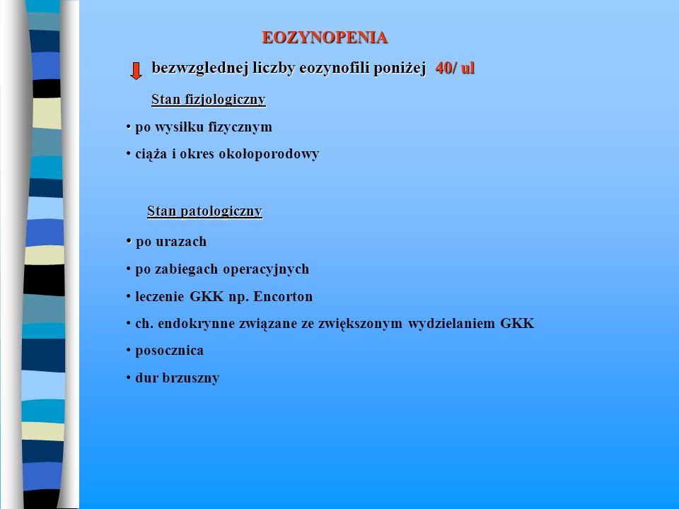 bezwzglednej liczby eozynofili poniżej 40/ ul Stan fizjologiczny