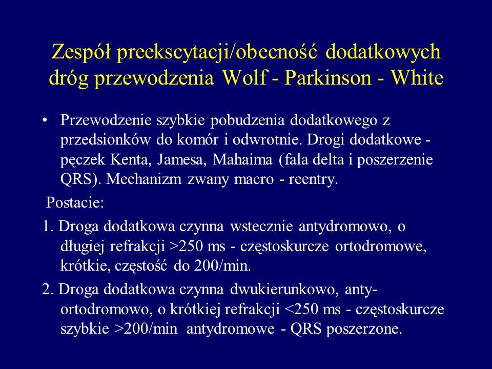 Zespół preekscytacji/obecność dodatkowych dróg przewodzenia Wolf - Parkinson - White