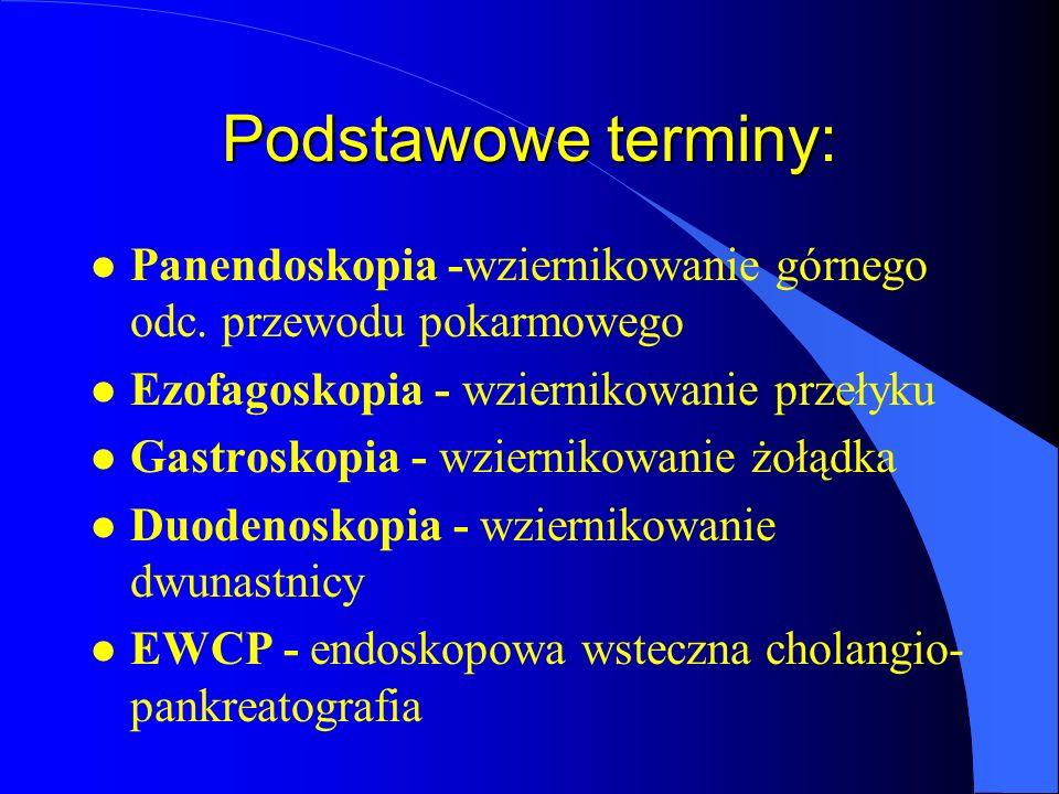 Podstawowe terminy: Panendoskopia -wziernikowanie górnego odc. przewodu pokarmowego. Ezofagoskopia - wziernikowanie przełyku.
