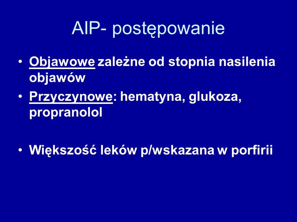 AIP- postępowanie Objawowe zależne od stopnia nasilenia objawów