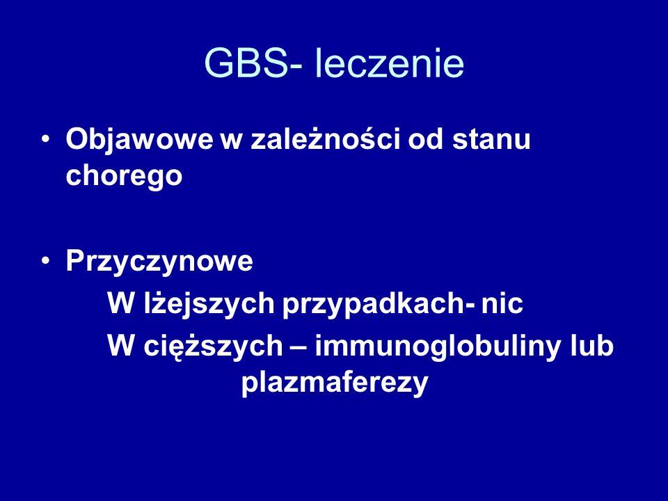 GBS- leczenie Objawowe w zależności od stanu chorego Przyczynowe