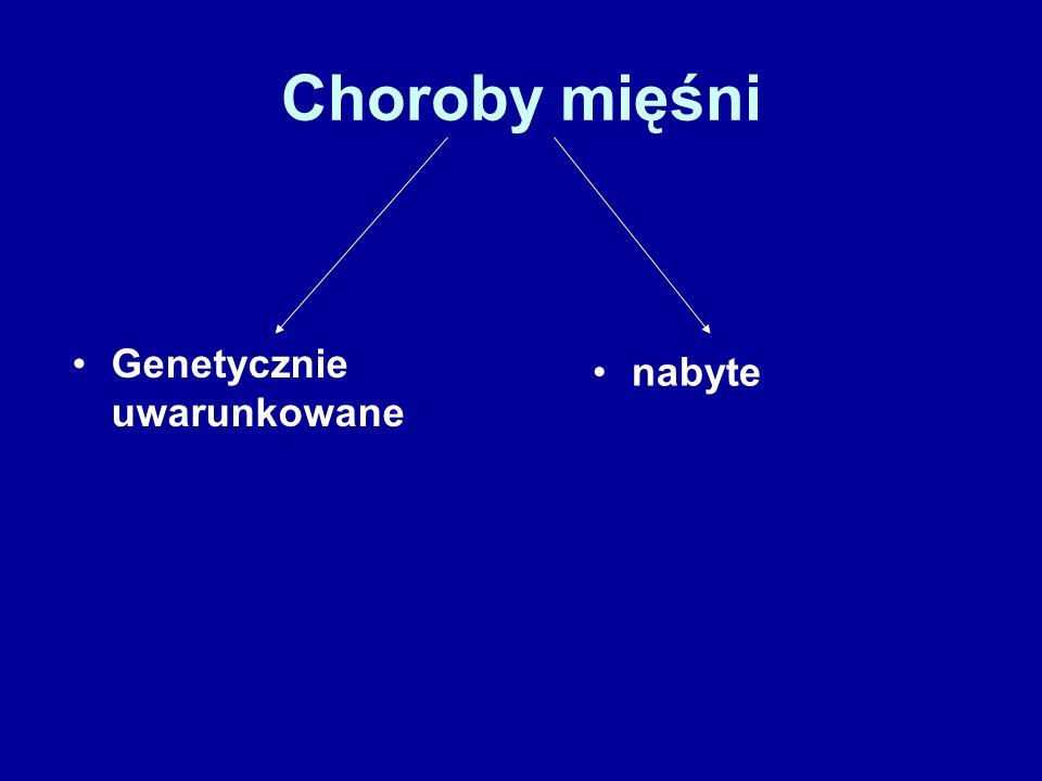 Choroby mięśni Genetycznie uwarunkowane nabyte