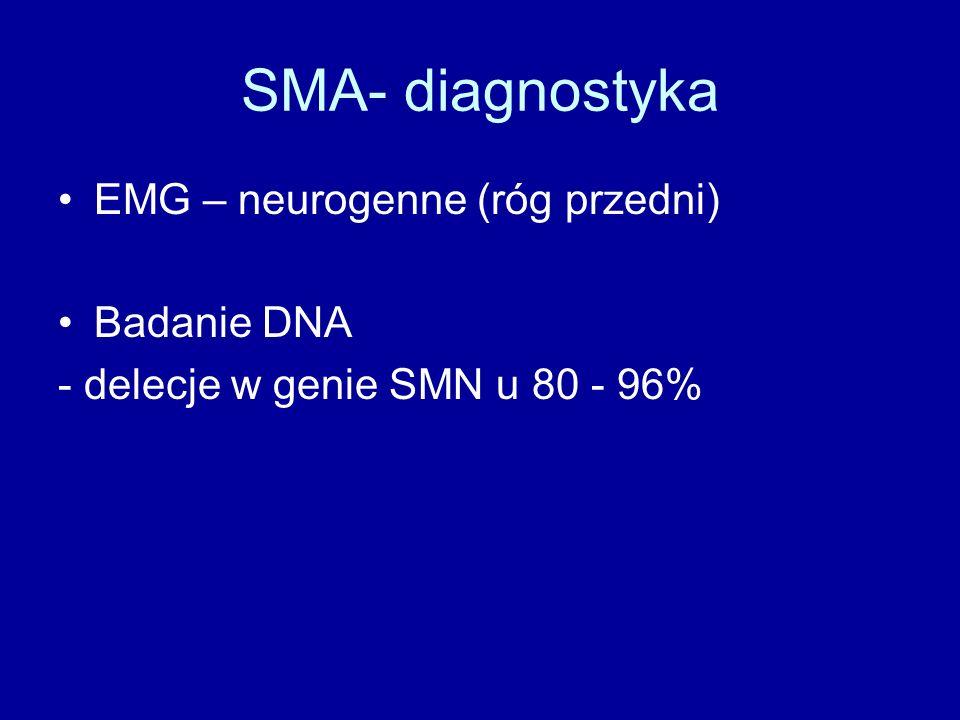SMA- diagnostyka EMG – neurogenne (róg przedni) Badanie DNA