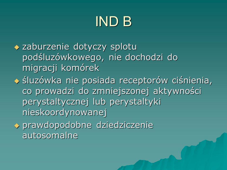 IND B zaburzenie dotyczy splotu podśluzówkowego, nie dochodzi do migracji komórek.