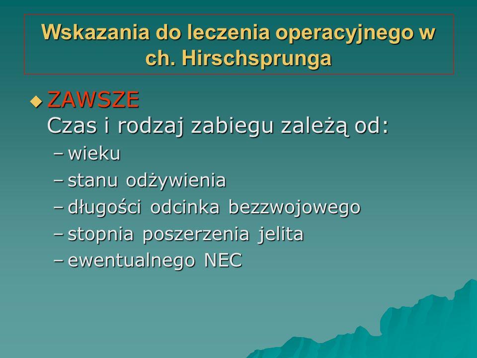 Wskazania do leczenia operacyjnego w ch. Hirschsprunga