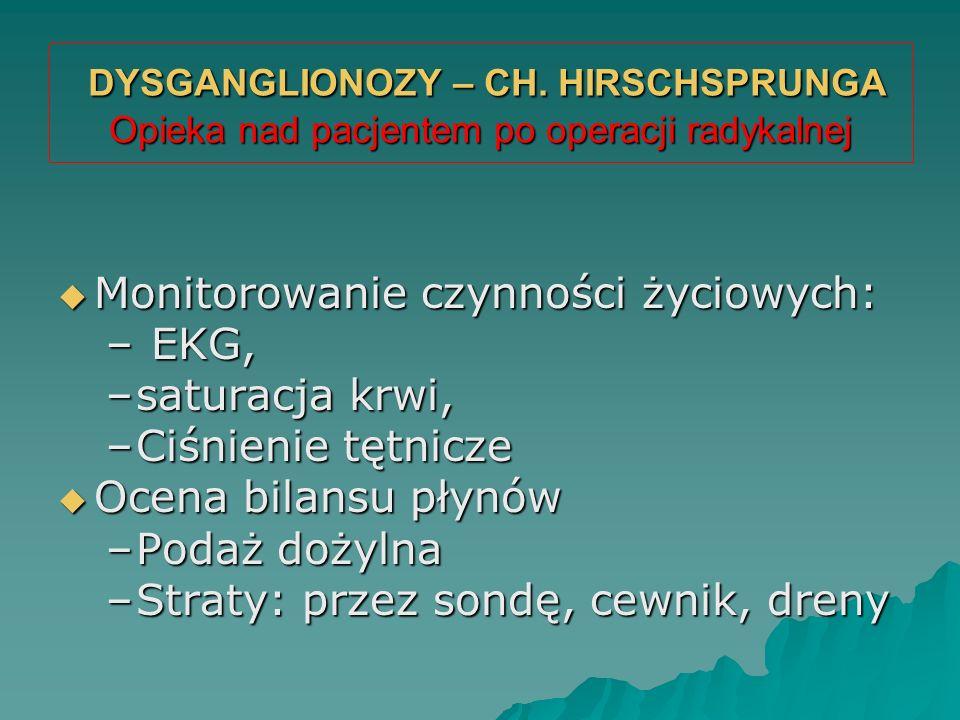 DYSGANGLIONOZY – CH. HIRSCHSPRUNGA Opieka nad pacjentem po operacji radykalnej