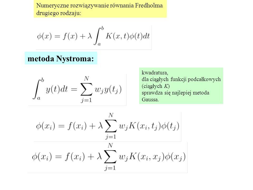 Numeryczne rozwiązywanie równania Fredholma drugiego rodzaju: