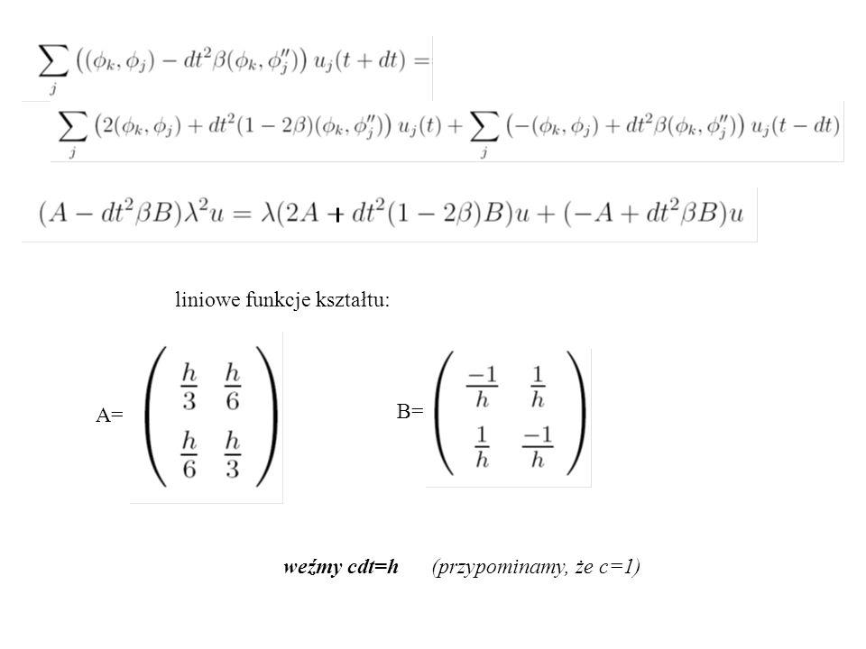 liniowe funkcje kształtu: