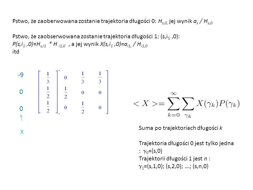 Pstwo, że zaoberwowana zostanie trajektoria długości 0: Hs,0, jej wynik as / Hs,0