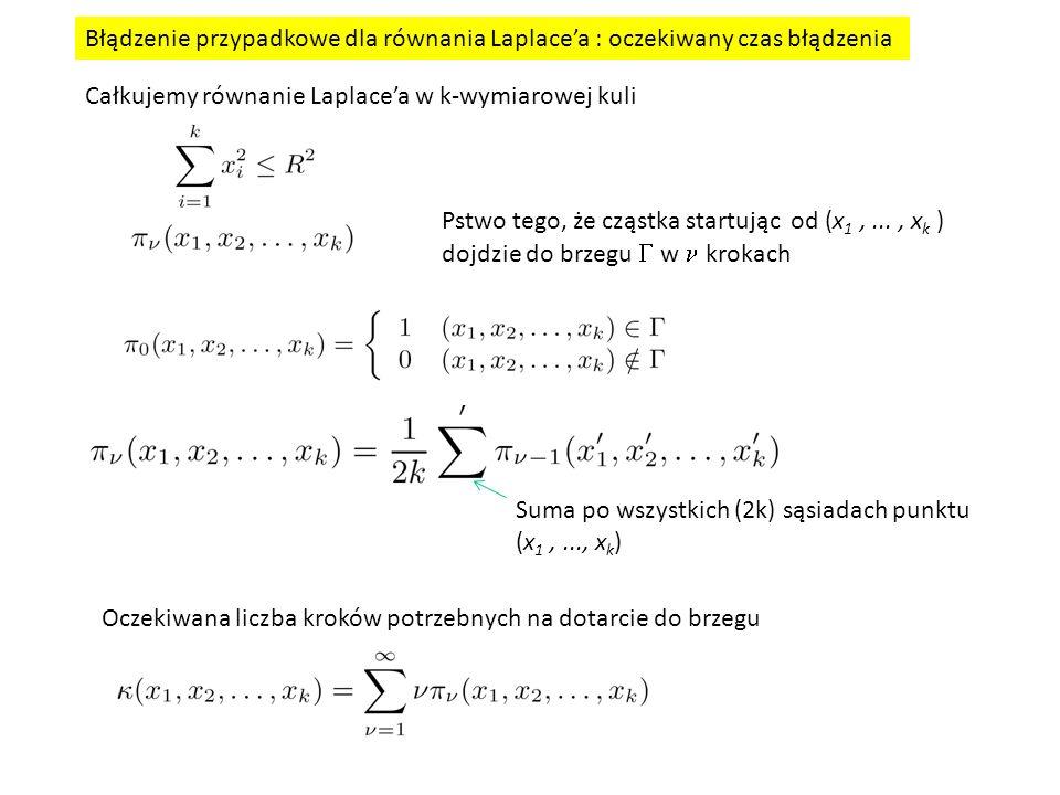 Całkujemy równanie Laplace'a w k-wymiarowej kuli