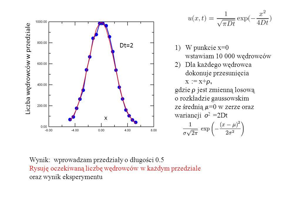 W punkcie x=0 wstawiam 10 000 wędrowców