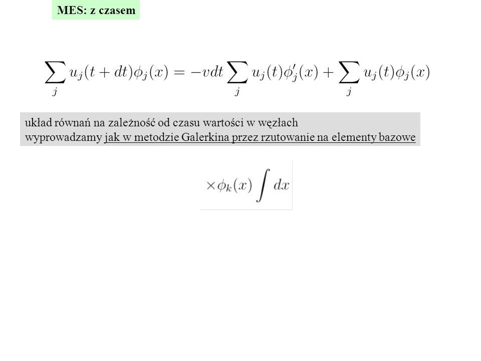 MES: z czasem układ równań na zależność od czasu wartości w węzłach.