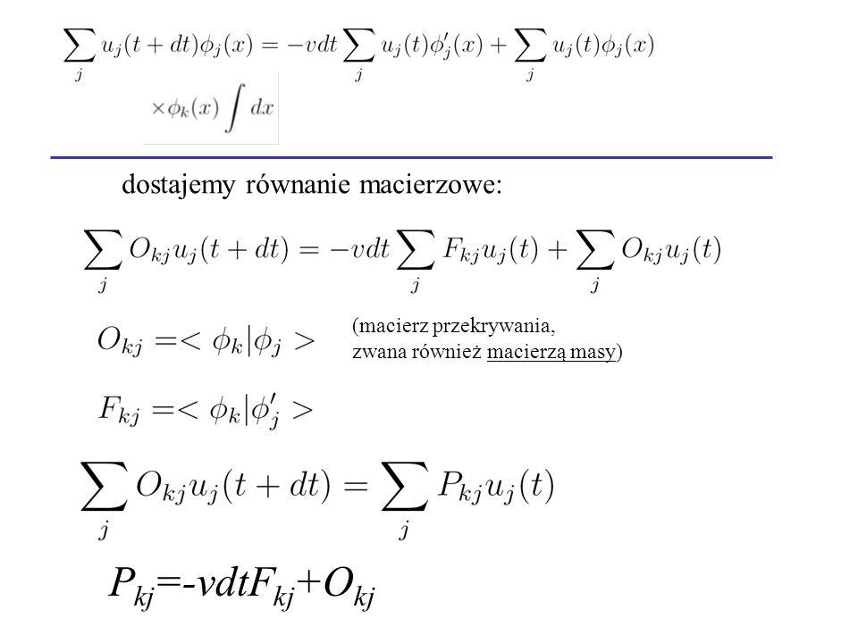 Pkj=-vdtFkj+Okj dostajemy równanie macierzowe: (macierz przekrywania,