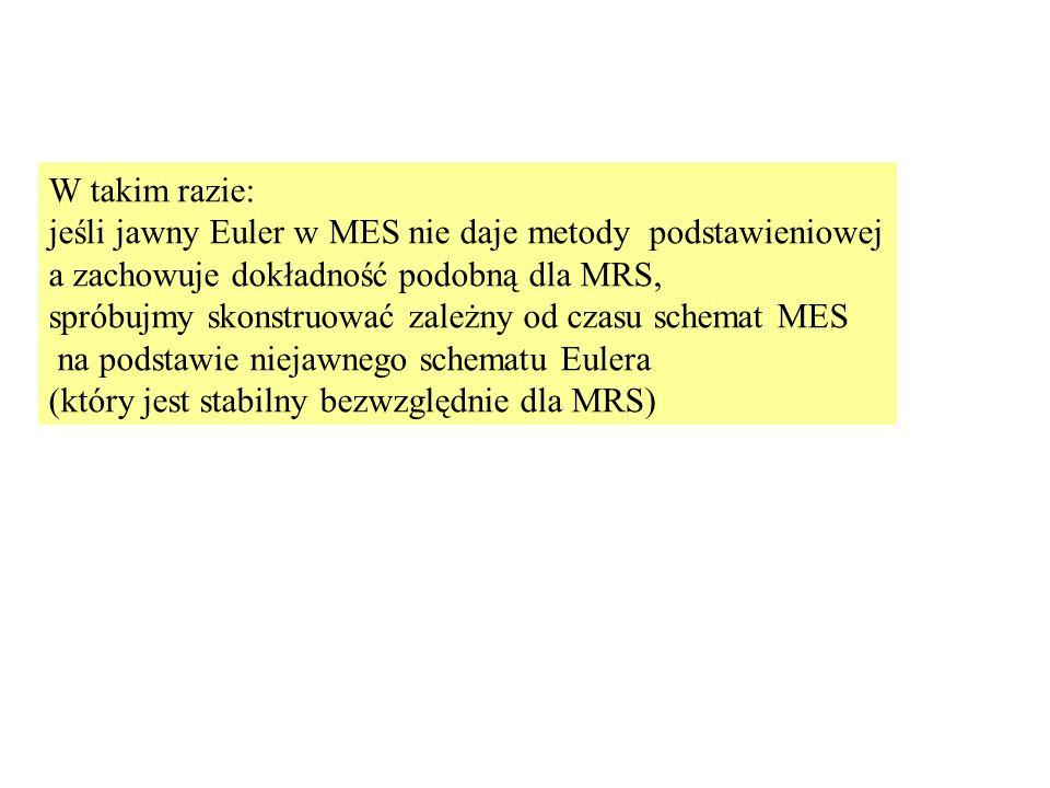 W takim razie: jeśli jawny Euler w MES nie daje metody podstawieniowej. a zachowuje dokładność podobną dla MRS,