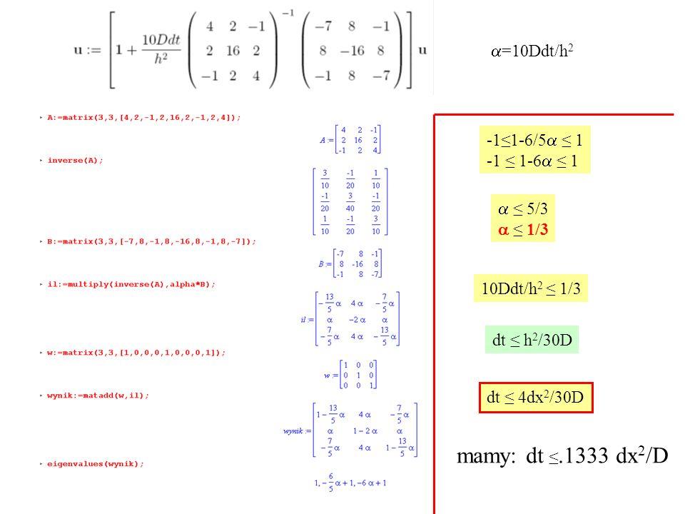 mamy: dt ≤.1333 dx2/D a=10Ddt/h2 -1≤1-6/5a ≤ 1 -1 ≤ 1-6a ≤ 1 a ≤ 5/3