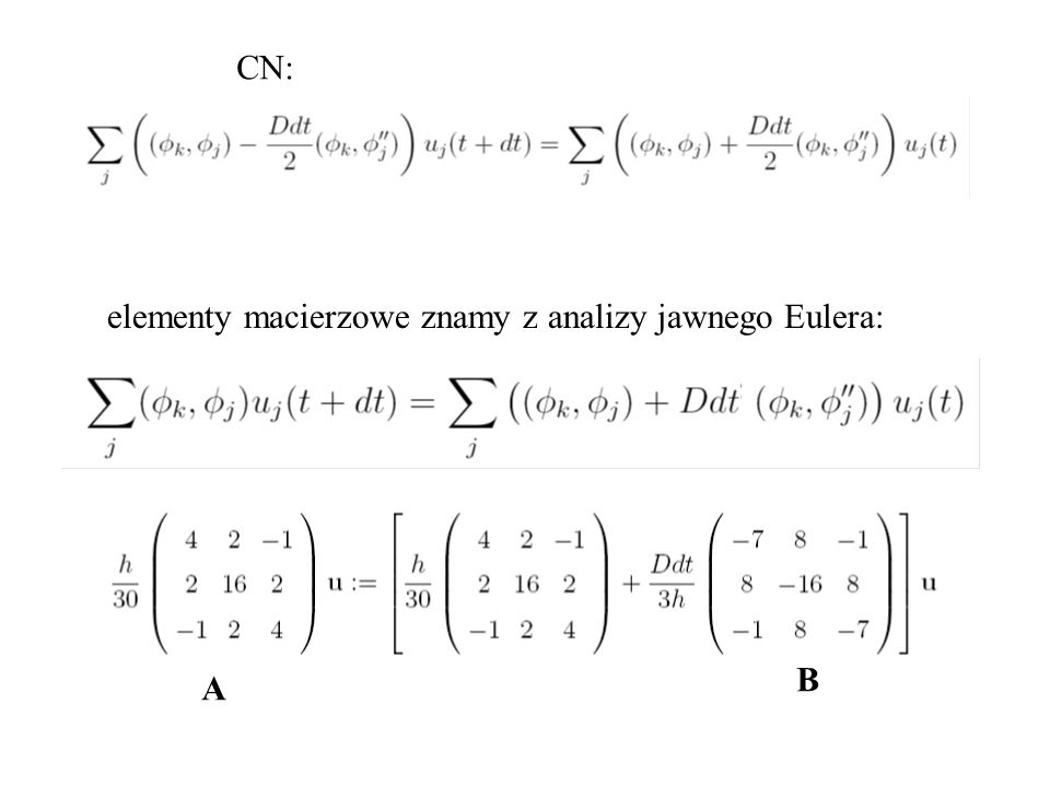CN: elementy macierzowe znamy z analizy jawnego Eulera: B A