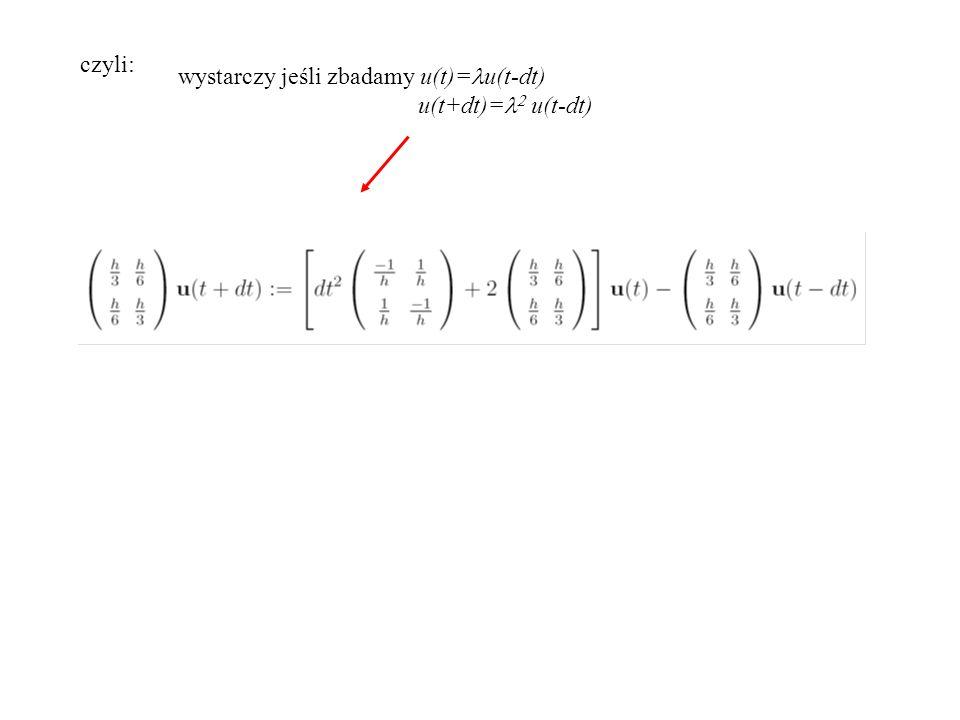 czyli: wystarczy jeśli zbadamy u(t)=lu(t-dt) u(t+dt)=l2 u(t-dt)