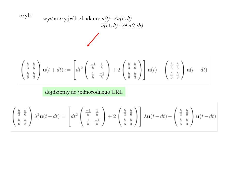 czyli: wystarczy jeśli zbadamy u(t)=lu(t-dt) u(t+dt)=l2 u(t-dt) dojdziemy do jednorodnego URL