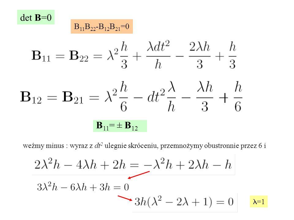 det B=0 B11B22-B12B21=0. B11= ± B12. weźmy minus : wyraz z dt2 ulegnie skróceniu, przemnożymy obustronnie przez 6 i.