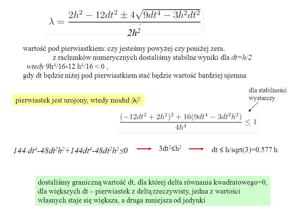 2h2 wartość pod pierwiastkiem: czy jesteśmy powyżej czy poniżej zera. z rachunków numerycznych dostaliśmy stabilne wyniki dla dt=h/2.