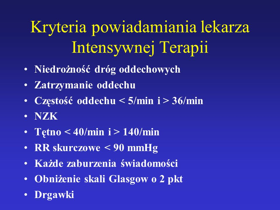 Kryteria powiadamiania lekarza Intensywnej Terapii