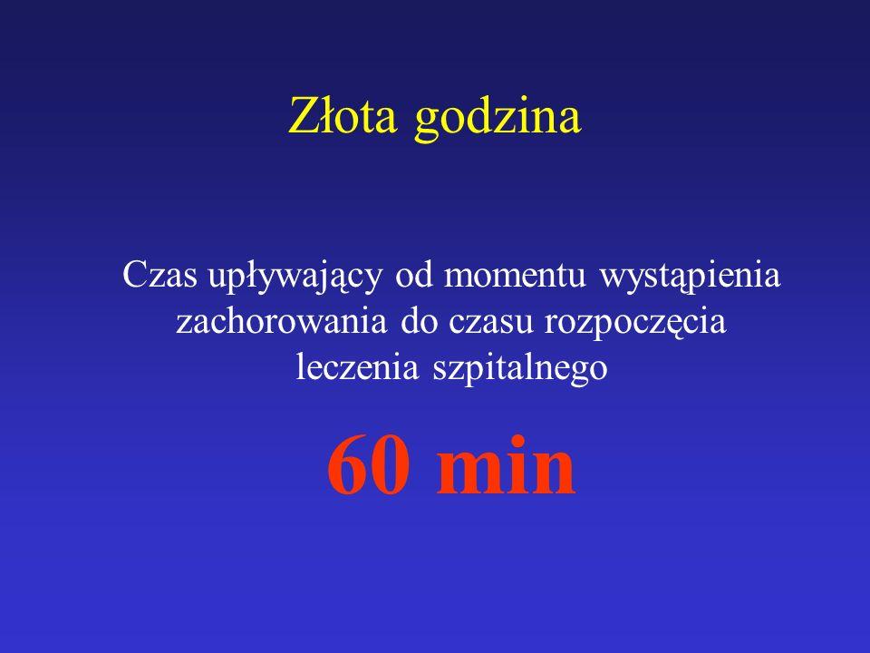 Złota godzina Czas upływający od momentu wystąpienia zachorowania do czasu rozpoczęcia leczenia szpitalnego.
