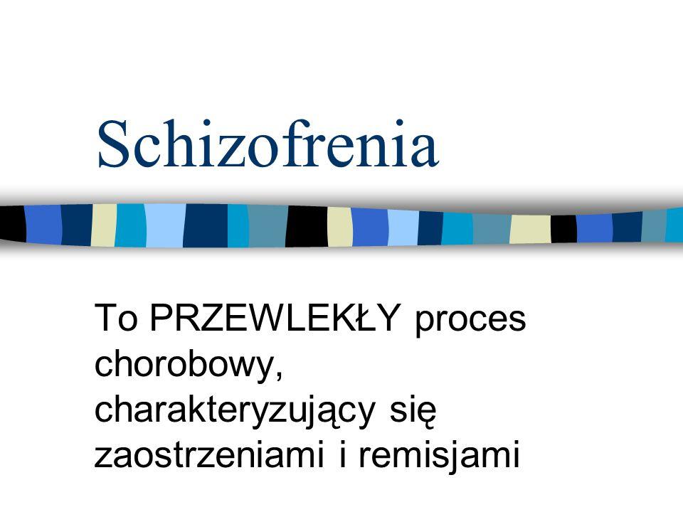 Schizofrenia To PRZEWLEKŁY proces chorobowy, charakteryzujący się zaostrzeniami i remisjami
