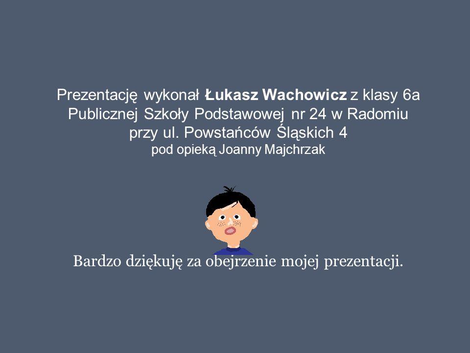 Prezentację wykonał Łukasz Wachowicz z klasy 6a